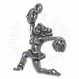 3D Cheerleader Holding Pom Poms One Arm Raised Kneeling Charm