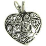 Filigree Flower Decorative Heart Charm