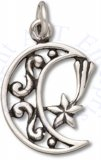 Filigree Waning Crescent Moon Charm With Mystical Shooting Star