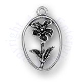 Flower Charm With Stem And Leaves In Oval