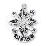 Four Doves In Diamond Shape With Peace Charm