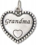 Grandma Beaded Engraved Heart Shaped Charm