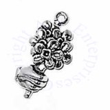 Hand Holding Bouquet of Flowers 3D Charm