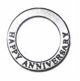 "Two Sided ""HAPPY ANNIVERSARY"" Circle Shaped Affirmation Slide Pendant"