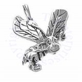 Sterling Silver 3D Happy Honey Bee Charm