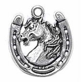 Mad Stallion Horse Head Facing Left In A Horse Shoe Charm