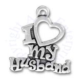 I Love My Husband With Heart Message Charm