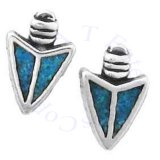Southwest Inlaid Blue Turquoise Chips Indian Arrowhead Post Earrings
