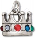 3D Kings Crown Charm With Colored Crystals