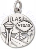 Round Two Sided Las Vegas Silver City Charm