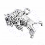 3D Jumping Buffalo Bison Bucking With Horns Charm