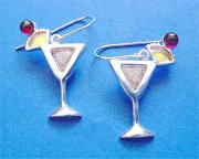 Sterling Silver Yellow Cubic Zirconia Mai Tai Cocktail Earrings