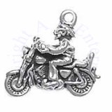 3D Man On Motorcycle Rider Charm