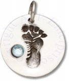 Round Light Blue March Cubic Zirconia Birthstone Baby Footprint Charm