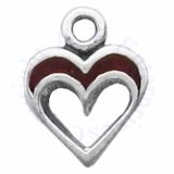 Mini Cut Out Heart With Simulated Red Coral Inlay Charm