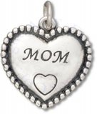 Mom Beaded Heart Shaped Charm