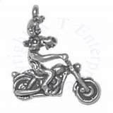 3D Large Moose On Motorcycle Cruiser Charm