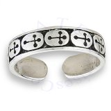Multiple Christian Crosses Thin Band Adjustable Toe Ring
