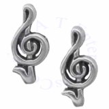 Music Symbol Treble Clef Sign Post Earrings