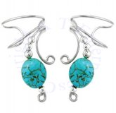 Turquoise Oval Stone Wave Ear Cuff Wrap Set