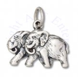 Pair Of Asian Elephants Charm Walking Side By Side