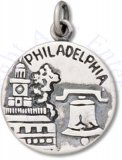 Philadelphia City Of Brotherly Love Two Sided Circle Charm