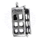 3D Pay Phone Enclosed Telephone Booth Charm Door Opens