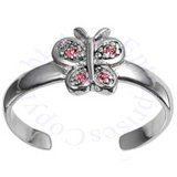 Pink Cubic Zirconia Butterfly Adjustable Toe Ring
