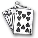 Good Luck Poker Hand Hearts Royal Flush Playing Cards Charm