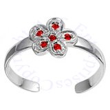 Red Cubic Zirconia Daisy Flower Adjustable Toe Ring