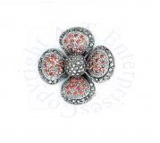 Red Cubic Zirconia Marcasite Four Petal Flower Brooch Pin