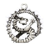 Oriental Dragon In A Spiked Circle Charm