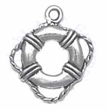 Sterling Silver 3D Life Preserver Flotation Device Charm
