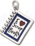 3D I HEART SCRAP BOOKS Enameled Blue And Red Book Binder Charm