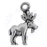 Mini Moose With Antlers Facing Right Charm