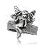 Left Ear Small Winged Fairy On Band Middle Inner Ear Cuff