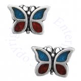 Southwest Inlaid Blue Turquoise Chips Butterfly Post Earrings