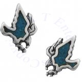 Southwest Inlaid Blue Turquoise Chips Attacking Eagle Post Earrings