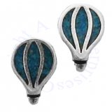 Southwest Inlaid Blue Turquoise Chips Hot Air Balloon Post Earrings