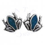 Southwest Inlaid Blue Turquoise Chips Toad Frog Post Earrings