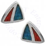 Southwest Inlaid Blue Turquoise Chips Mountain Design Post Earrings