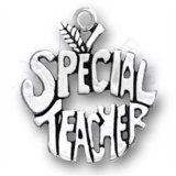 SPECIAL TEACHER With Apple Stem And Leaf Word Charm