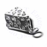 Sterling Silver 3D Swiss Cheese Slice Charm