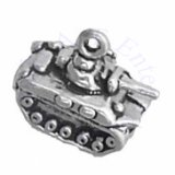 Sterling Silver 3D Tank Charm
