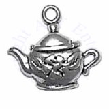 Teapot With Flower Decoration Charm