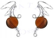 Tiger Eye Oval Disc Wave Ear Cuff Wrap Set