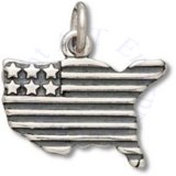 Patriotic American Flag In Shape Of United States Of America Charm