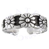 Wide Band Seven Daisy Flowers Adjustable Toe Ring