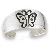 Wide Graduated Band Engraved Butterfly Adjustable Toe Ring