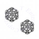 Winter Ice Crystal Snowflake Post Earrings